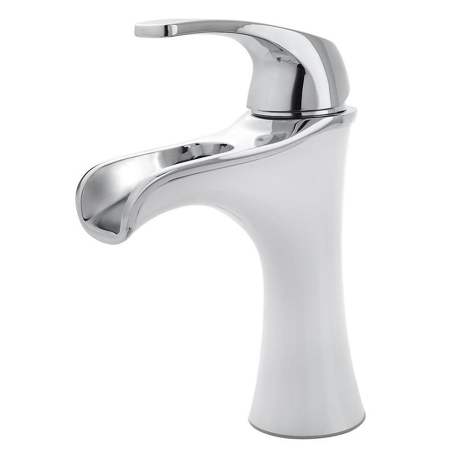 White Handle Bathroom Faucet : White/Polished Chrome 1-Handle 4-in Centerset WaterSense Bathroom ...