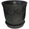 New England Pottery 6-in H x 6-in W x 6-in D Black Ceramic Pot