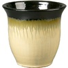  14.96-in H x 18.11-in W x 18.11-in D Black and Cream Glazed Ceramic Pot