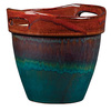 New England Pottery 10.236-in H x 9.449-in W x 9.449-in D Wasabi, Muddy Water Glazed Ceramic Indoor/Outdoor Planter