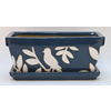 New England Pottery 5.91-in H x 7.09-in W x 11.81-in D Navy Blue Glazed Ceramic Window Box