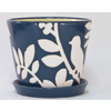 New England Pottery 5.118-in H x 5.91-in W x 5.91-in D Navy Blue Glazed Ceramic Pot