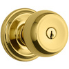 Brink's Home Security Push Pull Rotate Polished Brass Round Keyed Entry Door Knob