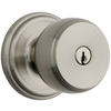Brink's Home Security Push Pull Rotate Satin Nickel Round Keyed Entry Door Knob