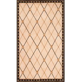 Momeni Regency Rectangular Cream with Black Border Wool Area Rug (Common: 5-ft x 8-ft; Actual: 5-ft x 7-ft 6-in)