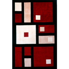 Momeni Powell Rectangular Red Geometric Tufted Wool Area Rug (Common: 8-ft x 10-ft; Actual: 7.5-ft x 9.5-ft)