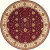 Momeni Giselle Round Red with Cream Border Wool Area Rug (Common: 8-ft x 8-ft; Actual: 8-ft x 8-ft)