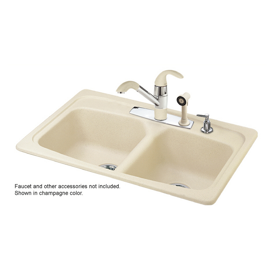 Franke White Composite Sink : Shop Franke USA Double-Basin Composite Granite Topmount Kitchen Sink ...