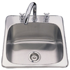 Franke USA 20.125-in x 20.5625-in Silk Deck and Bowl Single-Basin Stainless Steel Drop-In or Undermount Kitchen Sink