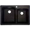 Franke 22-in x 33-in Double-Basin Granite Drop-In or Undermount Kitchen Sink