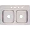 Kindred 22-in x 33-in Satin Double-Basin Stainless Steel Drop-In Kitchen Sink
