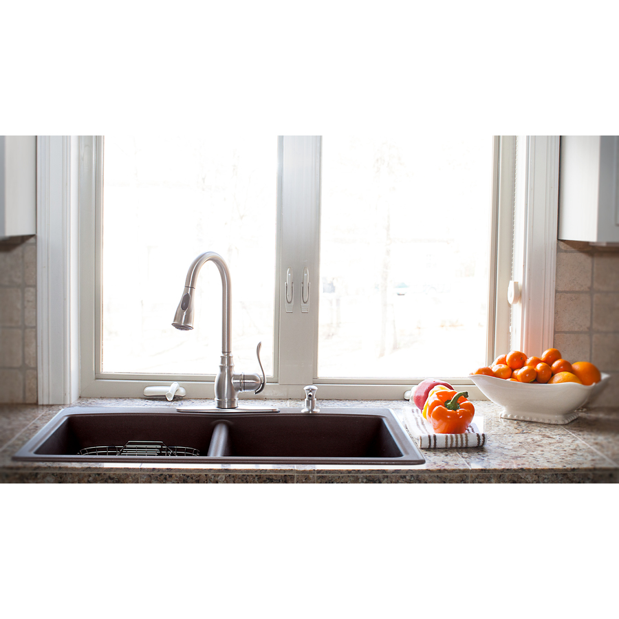 Shop Franke USA 22-in x 33-in Mocha Double-Basin Granite Drop-in or ...