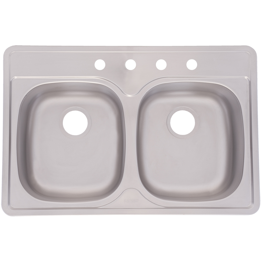 Shop Aquasource 22 In X 33 In Satin Double Basin Stainless Steel Drop In Kitchen Sink At