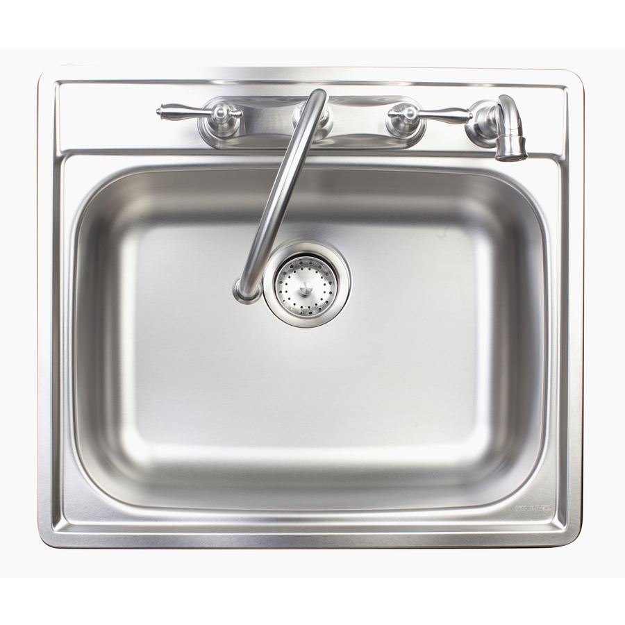 Franke Stainless Steel Sink : Shop Franke USA Stainless Steel Single-Basin Drop-In Kitchen Sink at ...