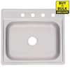 Project Source 25-in x 22-in Satin Deck and Bowls Single-Basin Stainless Steel Drop-In Kitchen Sink