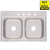 Project Source 33-in x 22-in Satin Deck and Bowls Double-Basin Stainless Steel Drop-In Kitchen Sink