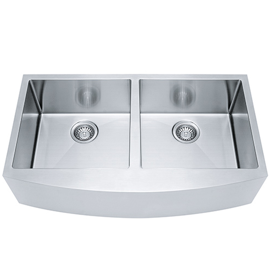 Shop franke usa frankeusa satin rim bowls double basin apron front farmhouse kitchen sink at - Kitchen sinks apron front ...