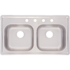 AquaSource 19-in x 33-in Satin Double-Basin Stainless Steel Drop-In Kitchen Sink