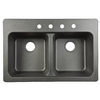 Kindred 33-in x 22-in Double-Basin Composite Drop-In or Undermount Kitchen Sink