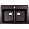 Franke USA Franke Usa 33-in x 22-in Onyx Double-Basin Granite Drop-In or Undermount Kitchen Sink