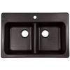 Franke USA 33-in x 22-in Double-Basin Granite Drop-In or Undermount Kitchen Sink