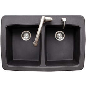 Franke Graphite Sink : Shop Franke USA 33-in x 22-in Graphite Double-Basin Granite Drop-In or ...