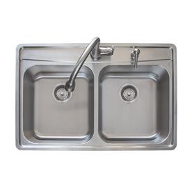 Franke Fast-in 33.5-in x 22.5-in Stainless Steel Double-Basin Drop-in ...