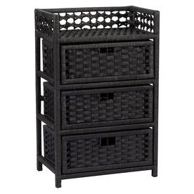 Household Essentials 16.93-in x 26.38-in 3 Black Wicker Cart