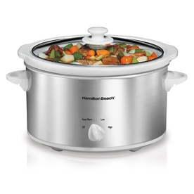 Hamilton Beach 4-Quart Stainless Steel Oval Slow Cooker