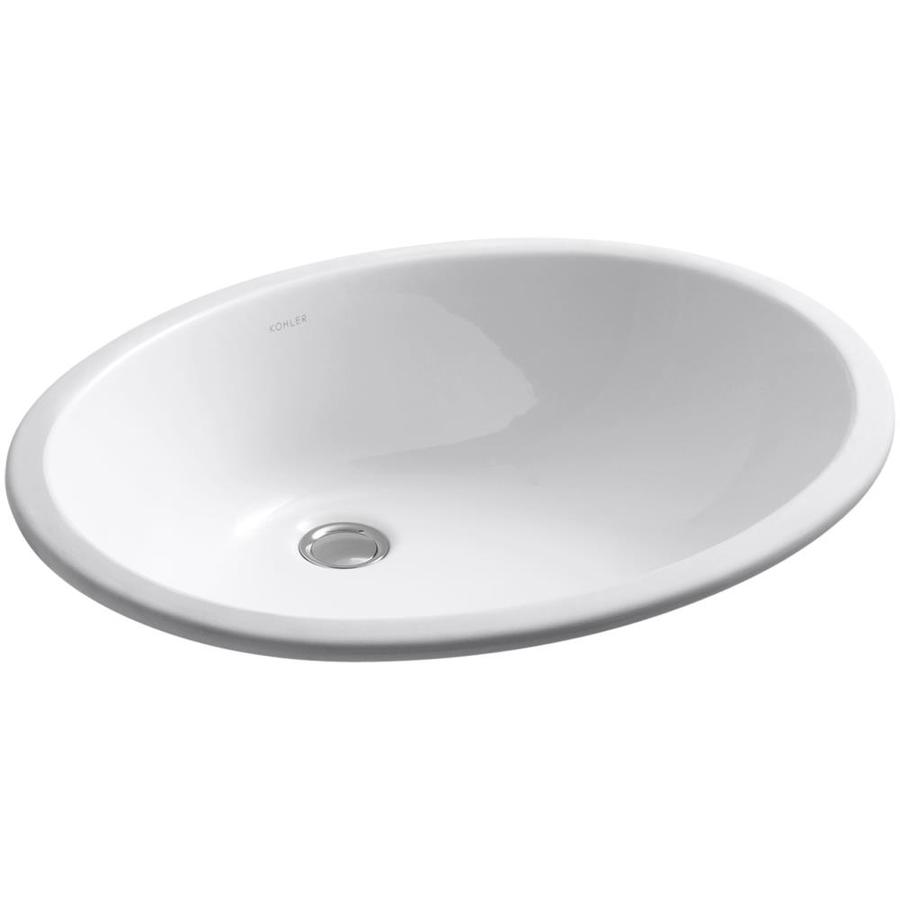 White Undermount Sink : Shop KOHLER Caxton White Undermount Oval Bathroom Sink with Overflow ...