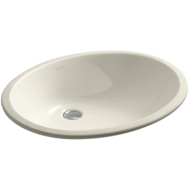 Shop KOHLER Caxton Almond Undermount Oval Bathroom Sink with Overflow ...