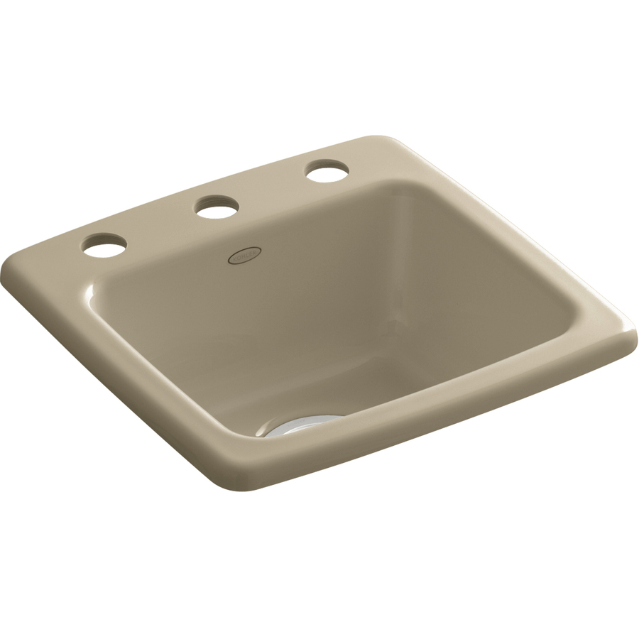 Shop KOHLER Mexican Sand Single-Basin Cast Iron Bar Sink at Lowes.com