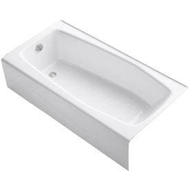 KOHLER 60-in x 30-1/4-in Villager White Rectangular Skirted Bathtub with Left-Hand Drain