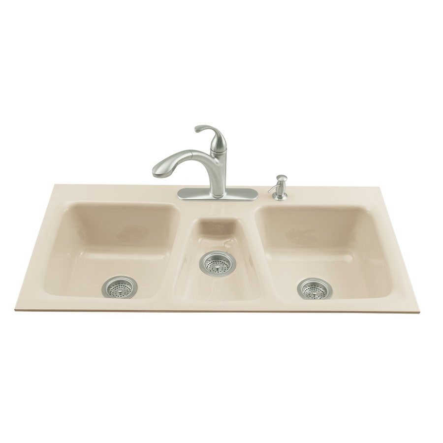 ... Triple-Basin Tile-in Enameled Cast Iron Kitchen Sink at Lowes.com