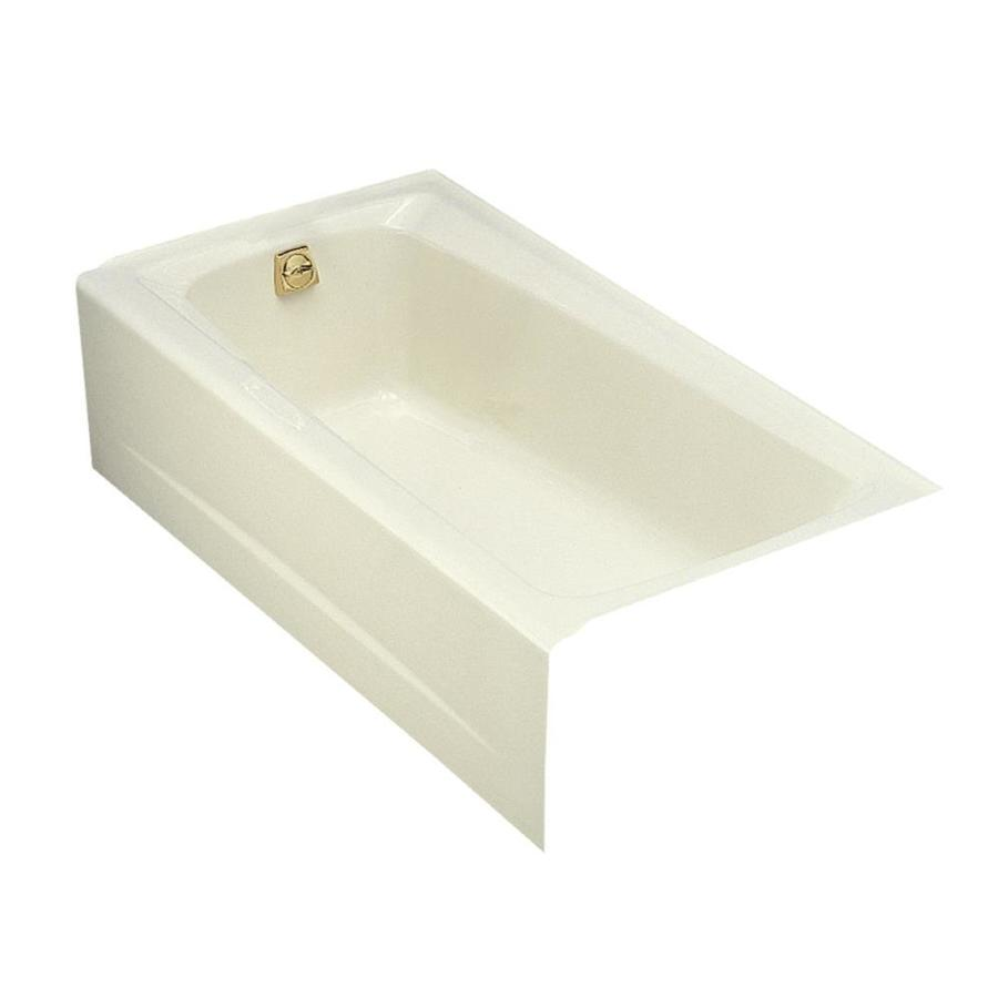 shop kohler mendota biscuit cast iron rectangular skirted bathtub with