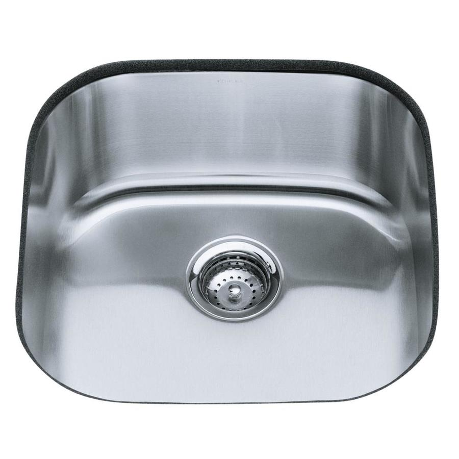KOHLER Undertone Stainless Steel Single-Basin Undermount Kitchen Sink ...