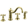 KOHLER Antique Vibrant Polished Brass 2-Handle Low-Arc Kitchen Faucet with Side Spray