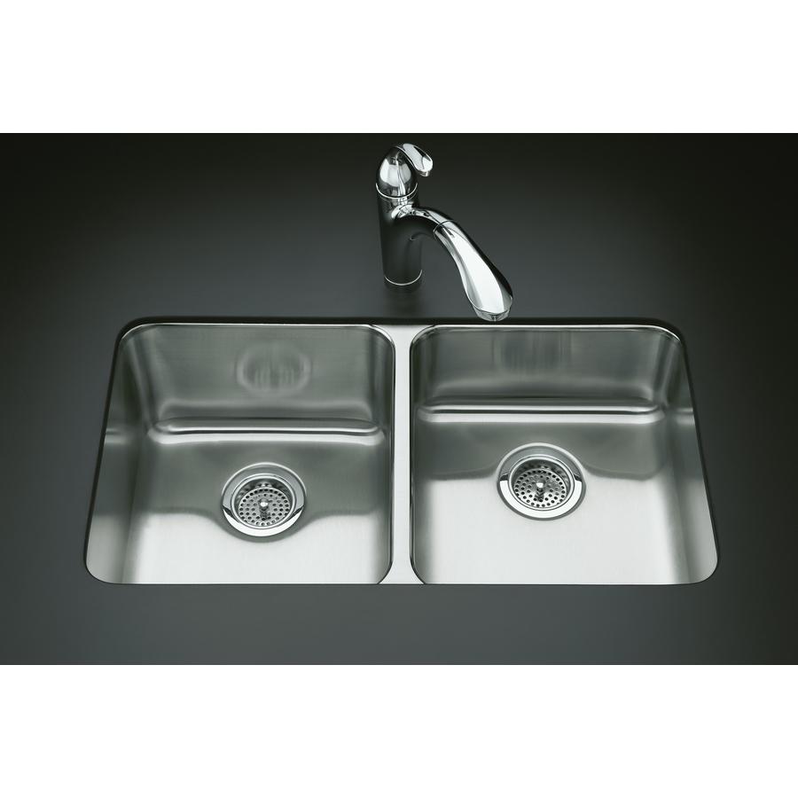 Kohler Undertone Sink : KOHLER Undertone Stainless Steel Double-Basin Drop-In Kitchen Sink ...