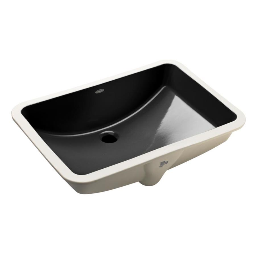 Shop KOHLER Ladena Black Black Undermount Rectangular Bathroom Sink ...