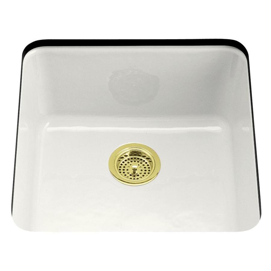 kohler iron tones white single basin drop in kitchen sink at