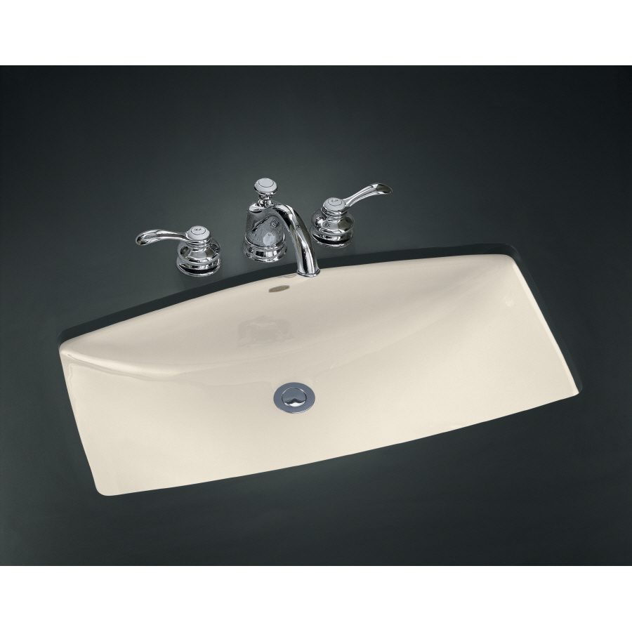 Shop Kohler Mans Lav Almond Cast Iron Undermount Rectangular Bathroom Sink With Overflow At