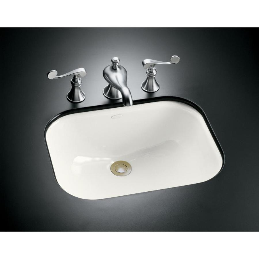 shop kohler tahoe white cast iron undermount rectangular
