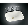 KOHLER Tahoe Cast Iron Undermount Rectangular Bathroom Sink with Overflow