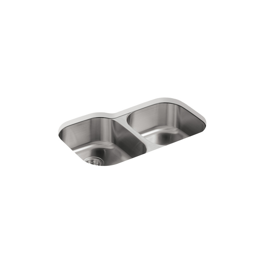 Kohler Stainless Sink : Shop KOHLER Undertone 18-Gauge Double-Basin Undermount Stainless Steel ...