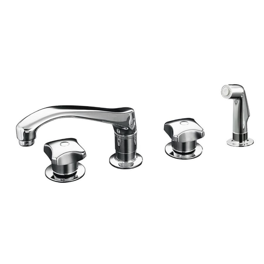 KOHLER Triton Polished Chrome Low Arc Kitchen Faucet with Side Spray