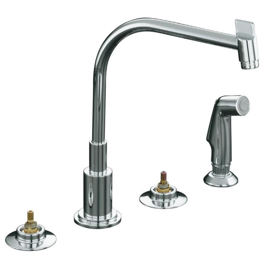 KOHLER Triton Polished Chrome High Arc Kitchen Faucet with Side Spray