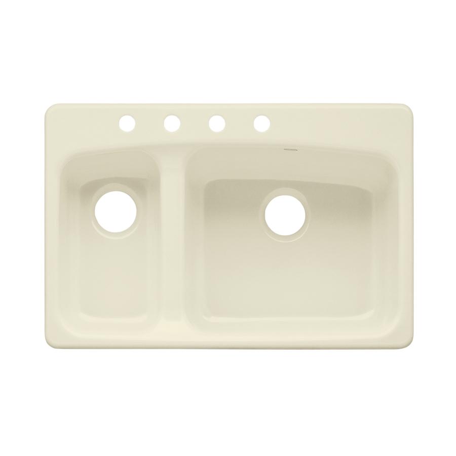 KOHLER Lakefield Double-Basin Drop-in Enameled Cast Iron Kitchen Sink ...