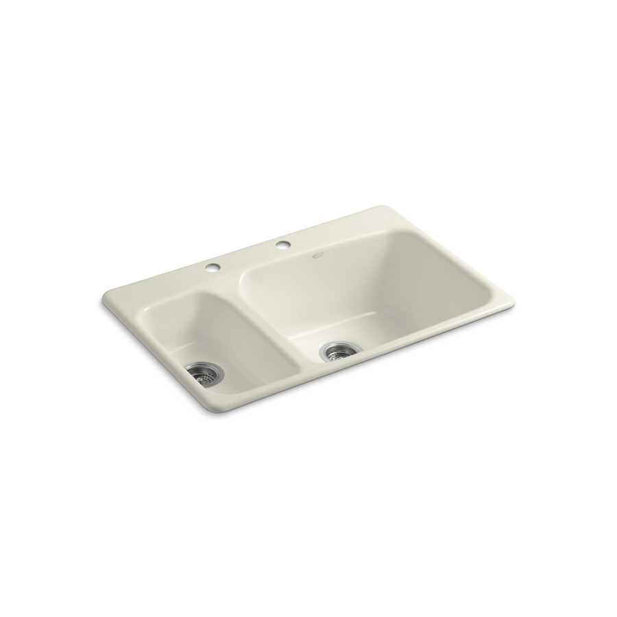 KOHLER Lakefield Double-Basin Drop-in Enameled Cast Iron Kitchen Sink ...