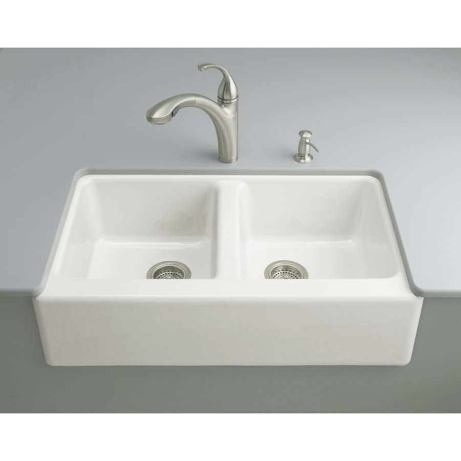 Shop Kohler Hawthorne X 33 In White Double Basin Cast Iron Undermount Kitchen Sink At