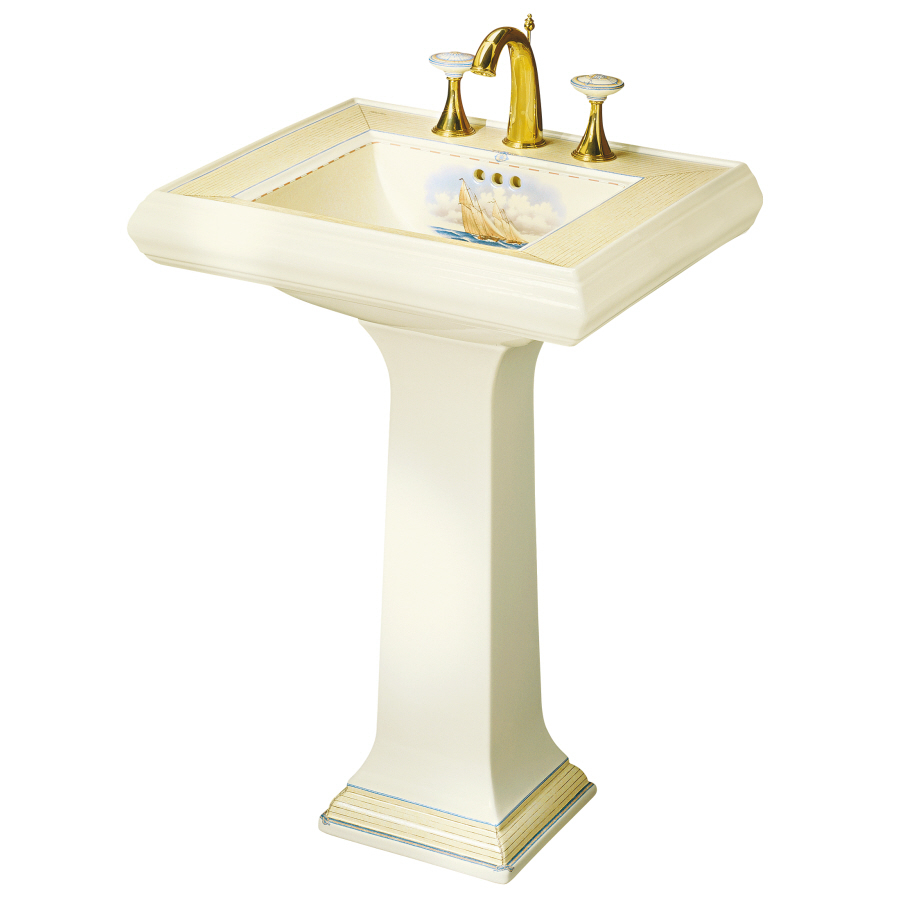 KOHLER Memoirs 34.38-in H Biscuit Fire Clay Complete Pedestal Sink ...